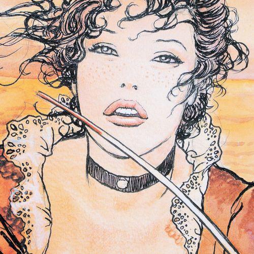 Milo Manara 米洛 马纳拉(1945 )  莫莉 马龙在日落时分  数字印刷  艺术家的铅笔签名  牛皮纸上  限量发行199份  总尺寸:23.5 …
