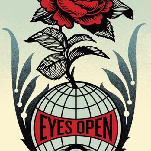 Shepard FAIREY Shepard Fairey  睁大眼睛,2021年  在Speckletone纸上进行胶印。  由Shepard Fairey用…
