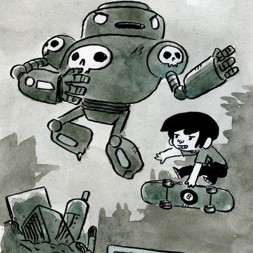 Mickaël Roux Mickaël ROUX   Robot     Dessin à l'Aquarelle   Signé   Format : 21…