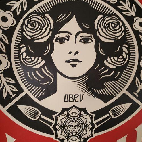 Shepard FAIREY Shepard Fairey (OBEY)  创造艺术而非战争  乳白色纸张上的胶印  91 x 61 cm     以铅笔签名并…