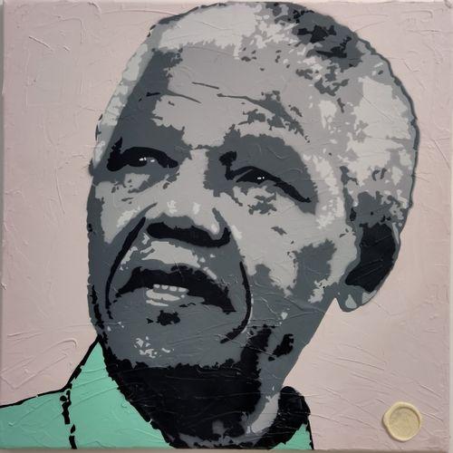 DED2008 DED2008  永不忘记曼德拉,2020  丙烯酸在画布上  签名  尺寸:60 x 60 cm  这幅作品是题为《永远不要忘记纳尔逊 曼德拉…