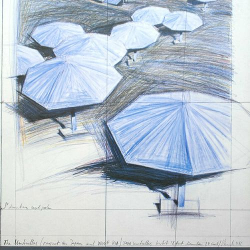 CHRISTO 克里斯托(1935 2020年  雨伞, 1986  为在琼 普拉特画廊举办的展览出版的海报  格式: 76 x 56 cm  完美的条件   …