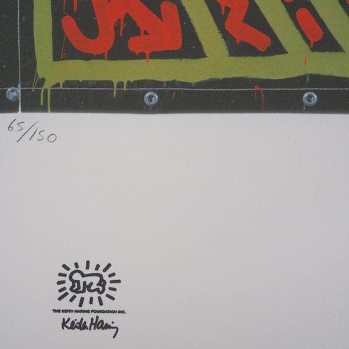 KEITH HARING Keith HARING (d'après)  Soumission  Sérigraphie sur vélin  Signée d…