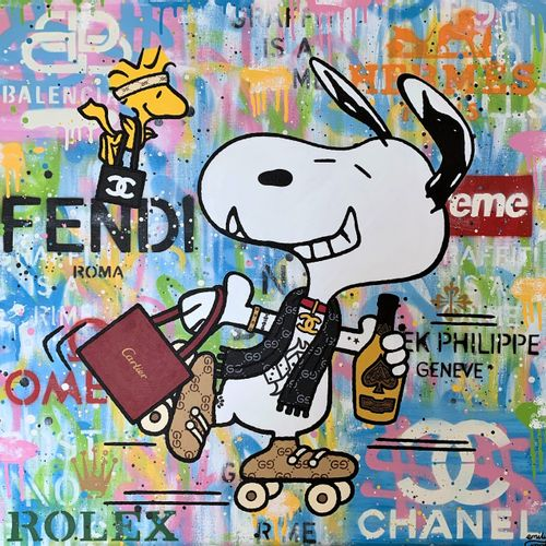 Emily Crook Emily Crook   Snoopy Skate     Aérosol et acrylique sur toile   Sign…