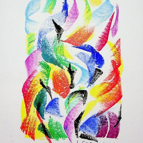 Françoise Galle 弗朗索瓦丝 加勒 (1940)  抽象的超越,2001年  纸上混合媒体、水粉和粉彩  底部有艺术家的签名和日期  牛皮纸上 1…
