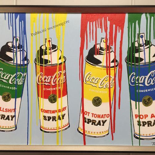"Tessi Tessi   Coca Cola Spray     Technique mixte sur toile   Signée ""Tessi"", en…"