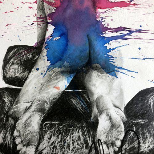 Philippe PASQUA 菲利普 帕斯夸。  无题》,2010年  强化印刷  纸上丙烯和墨水  签名  独特的工作  40 x 30厘米    拍品将由…