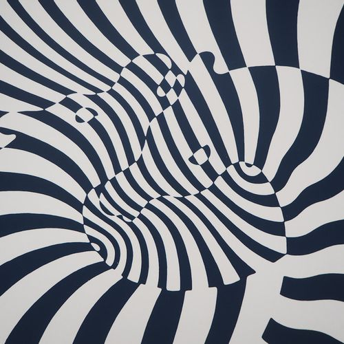Victor Vasarely Victor VASARELY  Zèbres sur fond bleu, 1975  Sérigraphie origina…