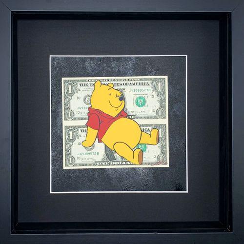 Lee Henderson Lee Henderson   维尼     纸币上的混合媒体   玻璃下的框架作品 30x30cm   独特的作品     16 …