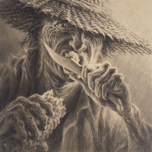 Jean Michel MATHIEUX MARIE Jean Michel MATHIEUX MARIE  兽性的外观  原始干点蚀刻画  铅笔签名的艺术家 …