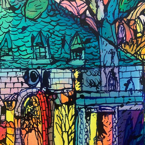 BAULT 博尔特。  沼泽中的小屋。  2021,  绘画。  布上混合媒体。  签名的独特作品。  100 x 81 cm    拍品将由我们的承运人负责,…