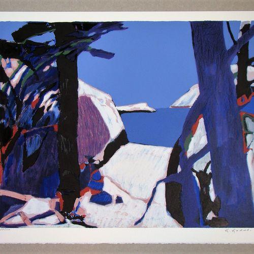 Gabriel GODARD 加布里埃尔 戈达尔 (1933)  普罗旺斯, 1980  彩色石版画原作,印在Arches羊皮纸上。  右下方有艺术家的铅笔签名…