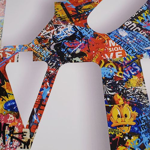 Aiiroh 瑷玲珑   街头爱情     纸上彩色绢印原作   版面上有签名并有编号   限量发行50份   80 x 80厘米    拍品将由我们的承运人负…