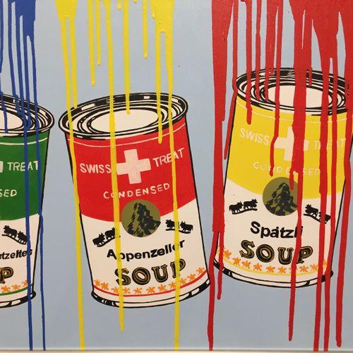 """Tessi Tessi Swiss Soups  Technique mixte sur toile  Signée """"Tessi"""", encadrée  67…"""