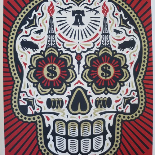 Shepard FAIREY Shepard Fairey (Obey)  Power Glory Day Of The Dead Skull (RED)  S…