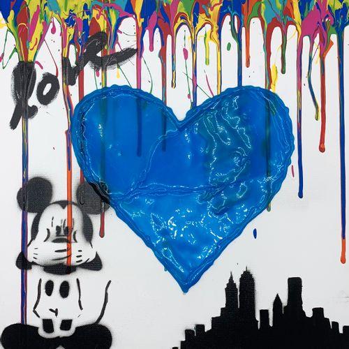 NOBODY Nobody   Heart, 2021   Technique mixte sur toile   Oeuvre signée au dos  …