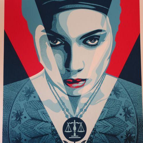 Shepard FAIREY Shepard Fairey (Obey)  Justice Woman Red, 2021  Sérigraphie sur p…
