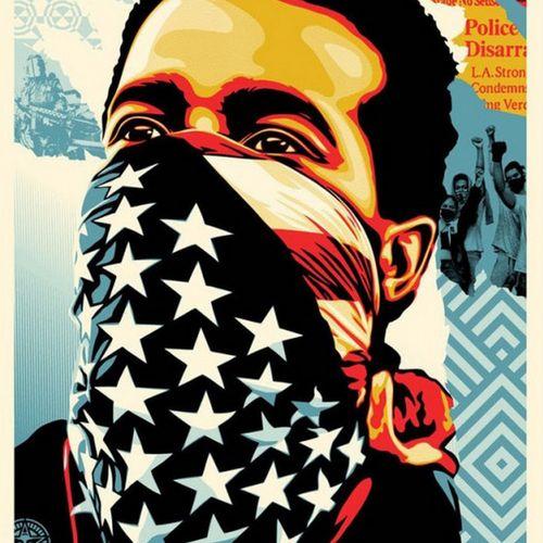 Shepard FAIREY Shepard FAIREY (Obey)  美国人的愤怒  在Speckletone纸上进行胶印。  签名:Shepard Fa…