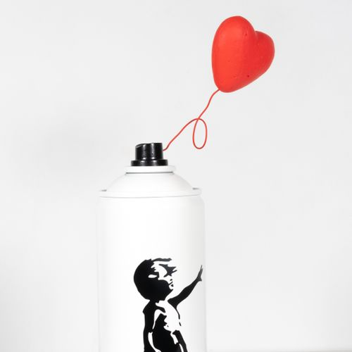 Shakeart83 抖音83  拿着气球的女孩,2021年  根据班克斯的视觉作品制作的喷雾罐。  状况极佳  尺寸:23 x 11 x 7厘米    拍品将…
