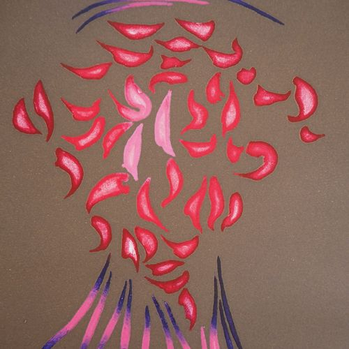 Jacques HEROLD Jacques HEROLD (1910 1985)  抽象的天竺葵花,1975年  原创水印蚀刻画  铅笔签名的艺术家  合理的…