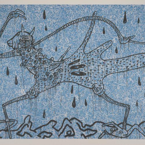 KEITH HARING Keith HARING (d'après)  La mante religieuse  Sérigraphie sur vélin …