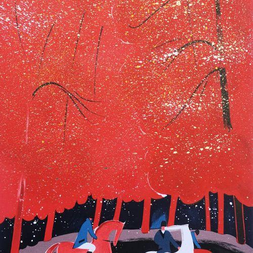 Serge Lassus 塞尔吉 拉苏斯(1933 )  骑士和红色森林  原始石版画  牛皮纸上  第984版  用铅笔签名  编号为250份的版本  尺寸5…