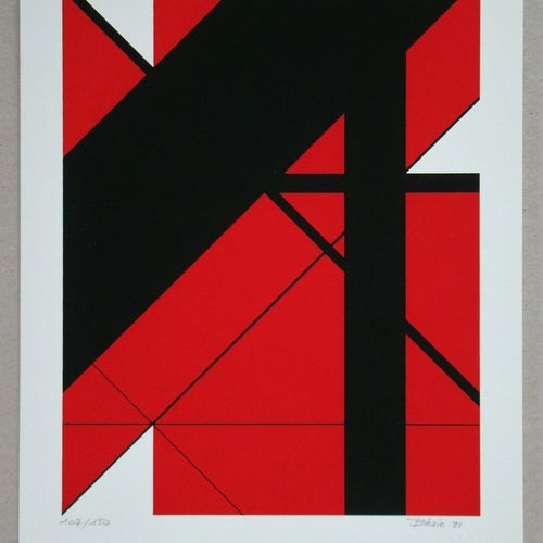 Charles BEZIE Charles Bézie ( 1934 )  构成, 1991  纬线纸上的三色原版绢画。  右下角有艺术家的签名和日期  并在左…