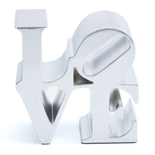 Robert Indiana Robert Indiana (d'après)  Love Silver  Sculpture en alliage de zi…