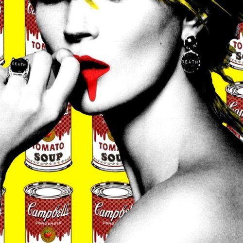 Death NYC Death NYC  Kate Moss Soup Yellow 2015  Sérigraphie.  Édition limitée à…