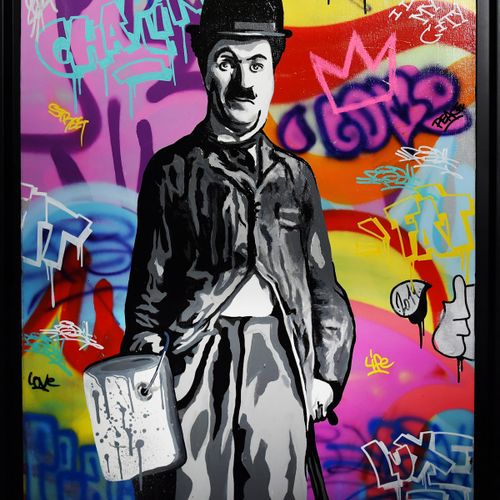 FAT FAT Charlie Chaplin II  Sérigraphie sur papier Novatech Satin 250 gm2  Signé…