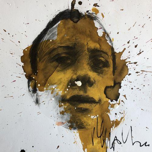 Philippe PASQUA 菲利普 帕斯夸。  无题》,2010年  混合媒体:强化印刷品、丙烯酸、纸上墨水  独特的作品     签名     40 x …