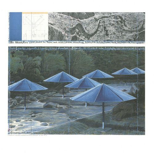 CHRISTO Christo (1935 200)  Blue Umbrella     Impression sur papier épais   Ache…
