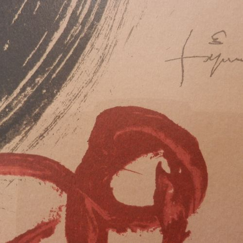 Antoni TAPIES 安东尼 塔皮埃斯(后  Ojos y Cruz先生  强化纸上石版画  用铅笔编号,并在版上签名  45 x 32 cm  无框  …