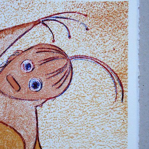 Max ERNST 马克斯 安斯特 ( 1891 1976 )  向圣拉扎罗致敬, 1975  原创的限量版石版画,在Arches羊皮纸上的彩色印刷。  版面右…