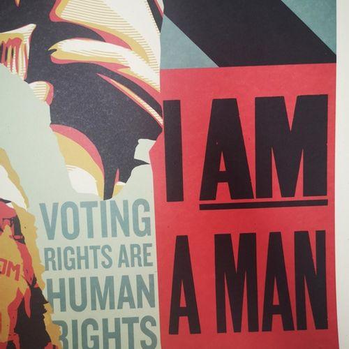 Shepard FAIREY Shepard FAIREY (Obey)  投票权是人权  在Speckletone纸上进行胶印。   签名:Shepard F…