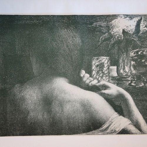 Jules FLANDRIN Jules FLANDRIN  La chevelure  Lithographie originale en couleur s…