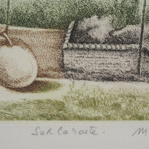 Michel Paradis Michel PARADIS  Sur la route  Gravure originale  Signée au crayon…