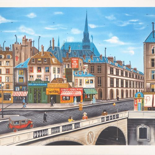 JEAN PIERRE LAURENT Eugène Valentin LATOUR (1944)  Le quai St. Michel  Lithograp…