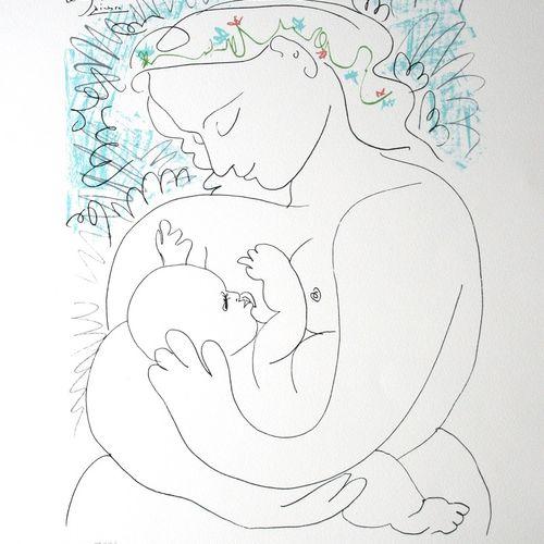 Pablo PICASSO Pablo Picasso (1881 1973)  Maternité  Lithographie sur papier véli…
