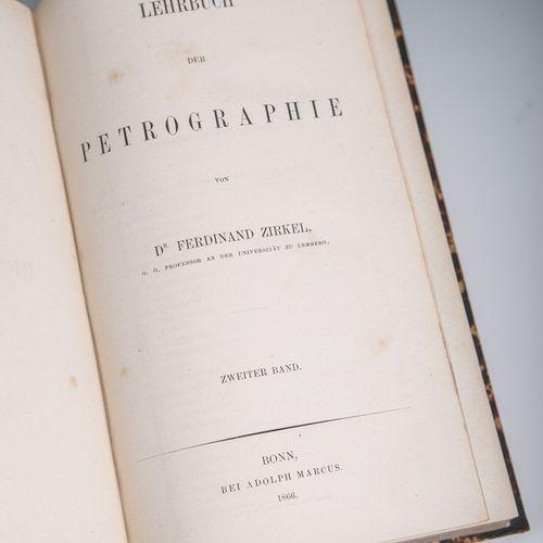 """Zirkel, Ferdinand Dr., """"Lehrbuch der Petrographie"""" en 2 volumes, Verlag Adolph M…"""