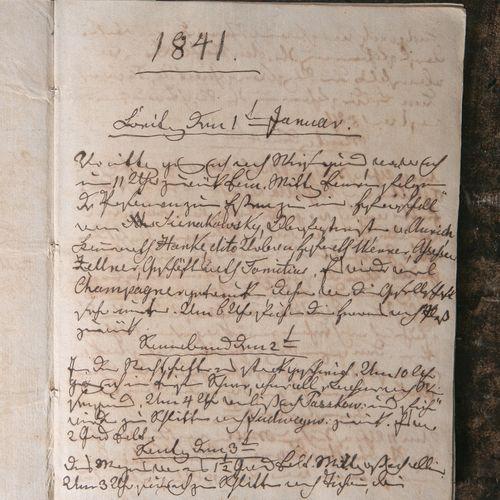 Ancien journal manuscrit de 1841, scribe inconnu, reliure marbrée, environ 19,5 …