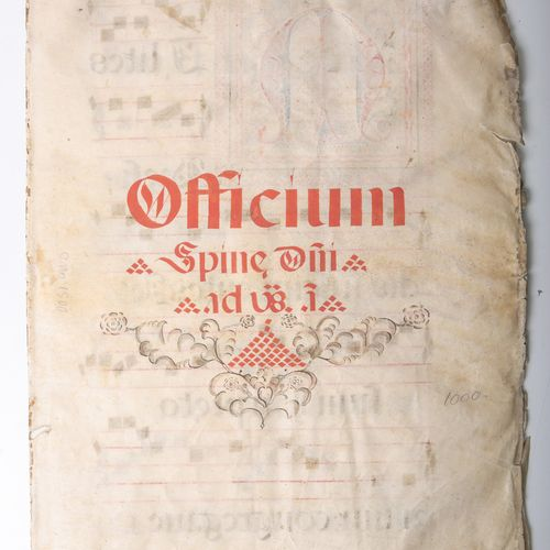 Officium (probablement vers 1500), feuille de musique avec texte, cuir fin, insc…