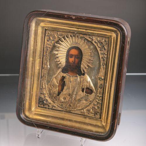 Icône, Jésus Pantocrator (probablement Russie, XIXe s.), risa en métal fin (prob…