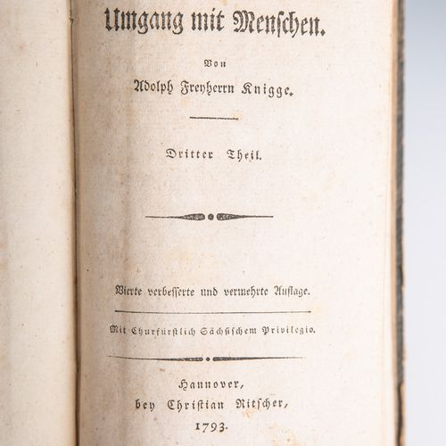 """Knigge, Adolph Freyherrn, """"Ueber den Umgang mit Menschen."""", 4ème édition amélior…"""