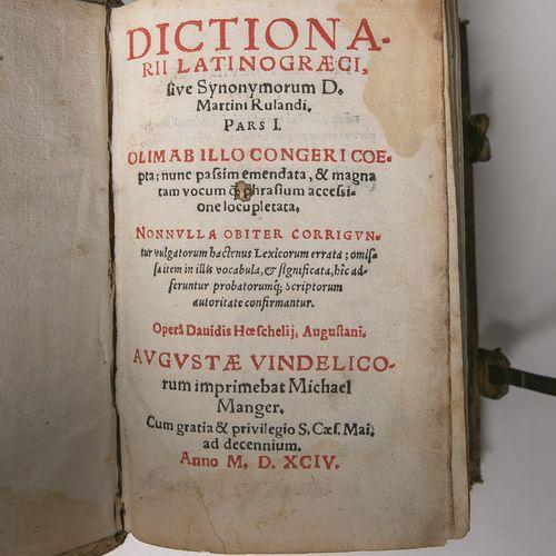 "Rulandi, Martini, ""Dictionari. Latinograeci"", 1654, reliure en cuir avec fermoir…"