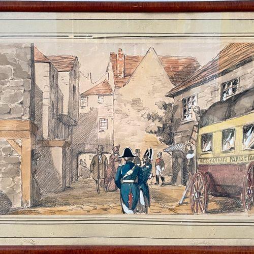 BOGNARD Auguste Lucien (19世纪末 20世纪初)  卸载邮车  混合媒体(铅笔、水彩、水粉)。  25,5 x 42 cm  (有些磨损…