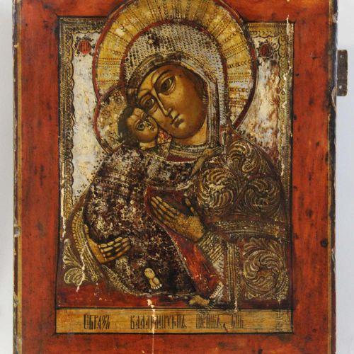 Muttergottes von Vladimir, Ikone, Russland 18. Jh. Mère de Dieu de Vladimir, icô…