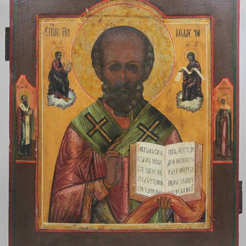 Nikolaus der Wundertäter mit Randheiligen, Ikone, Russland Saint Nicolas le Merv…