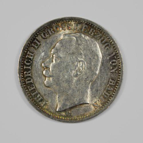 Münze, 3 Mark, Baden Großherzog Friedrich II. Pièce, 3 Mark, Grand Duc de Bade F…