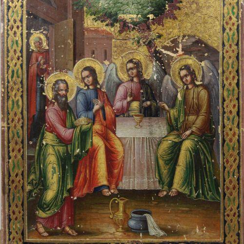 Alttestamentarische Dreifaltigkeit, Ikone, Russland, Ende 19. Jh. Cène, icône, R…